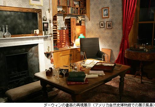 ダーウィンの書斎の再現展示(アメリカ自然史博物館での展示風景)
