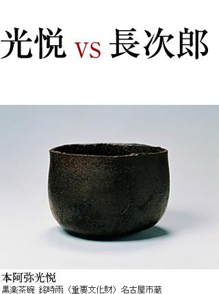 光悦vs長次郎 本阿弥光悦 黒楽茶碗 銘時雨