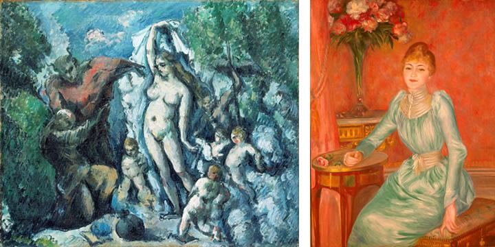 ポール・セザンヌ《聖アントワーヌの誘惑》1877年頃 油彩・カンヴァス、47x56cm オルセー美術館 cPhoto RMN - cHerve Lewandowski / distributed by DNPAC<br /> ピエール=オーギュスト・ルノワール《ボニエール夫人の肖像》1889年 油彩・カンヴァス、117x89cm プティ・パレ美術館 cPhoto RMN - cBulloz / distributed by DNPAC