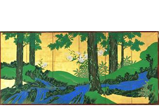 夏秋渓流図屏風